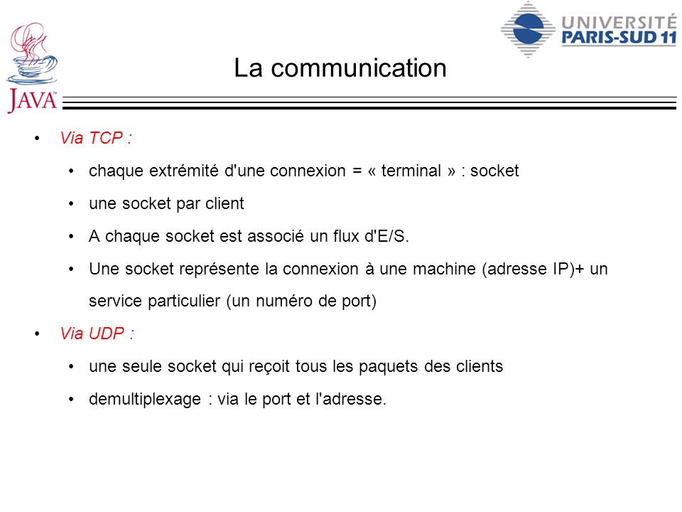 La communication Via TCP :