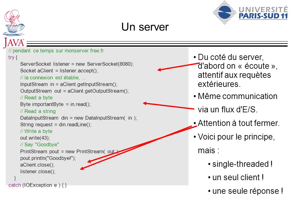 Un server // pendant ce temps sur monserver.free.fr. try { ServerSocket listener = new ServerSocket(8080);