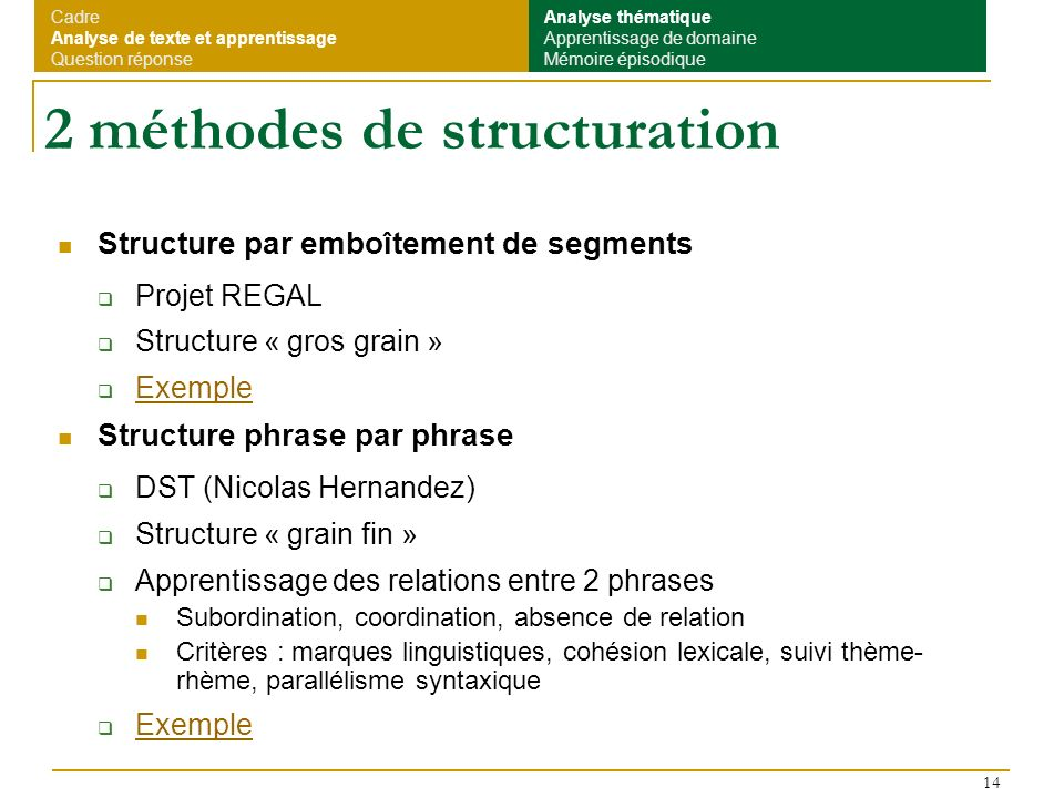 2 méthodes de structuration