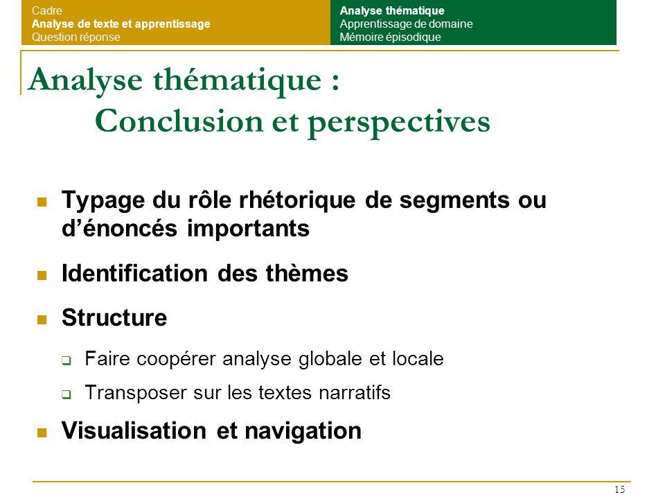 Analyse thématique : Conclusion et perspectives