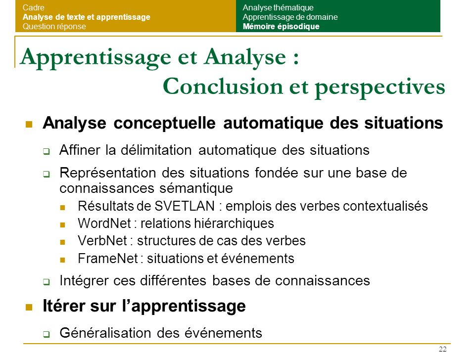 Apprentissage et Analyse : Conclusion et perspectives