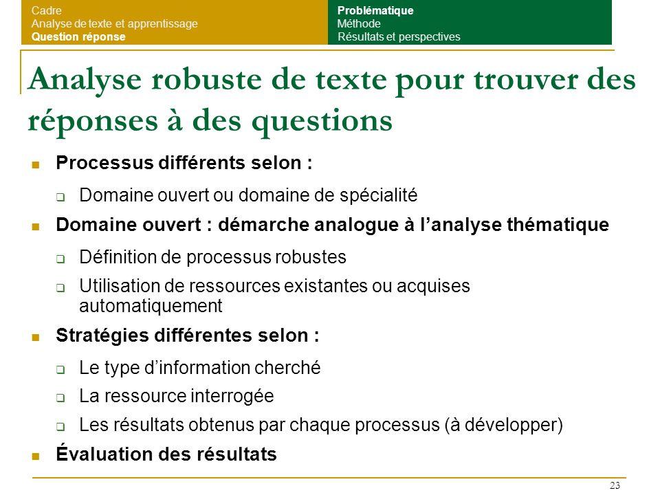 Analyse robuste de texte pour trouver des réponses à des questions