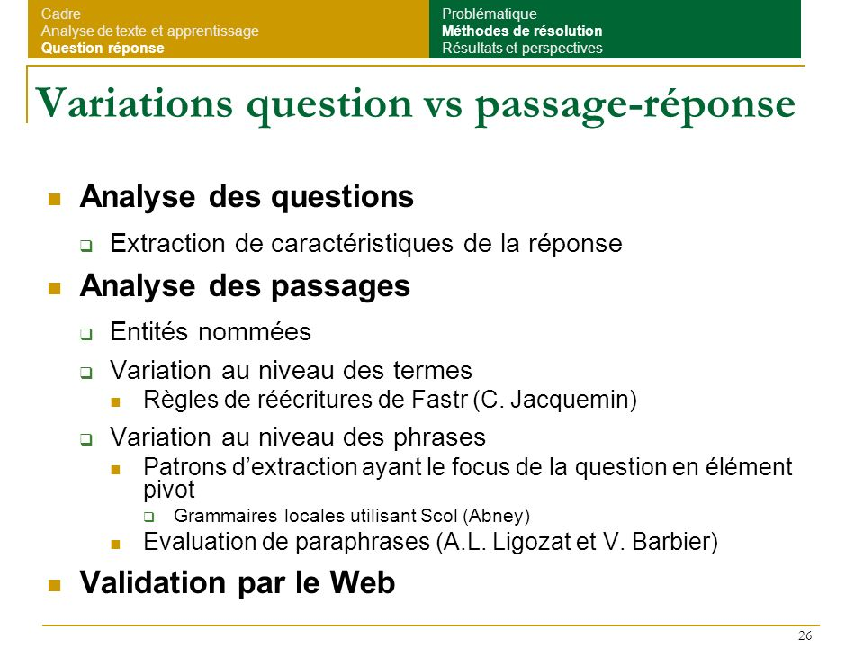 Variations question vs passage-réponse