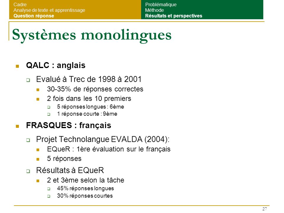 Systèmes monolingues QALC : anglais FRASQUES : français