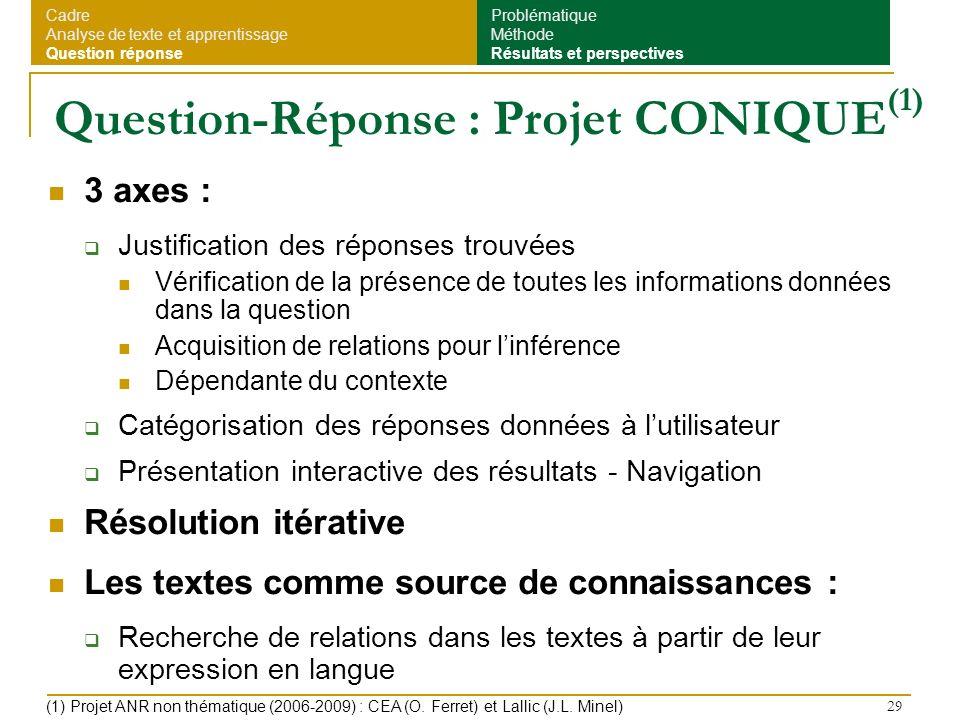 Question-Réponse : Projet CONIQUE(1)