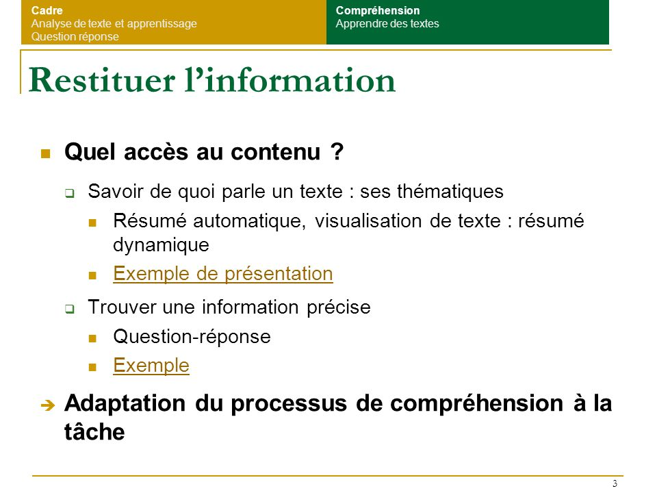 Restituer l'information