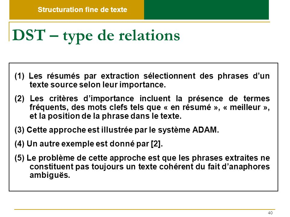 Structuration fine de texte