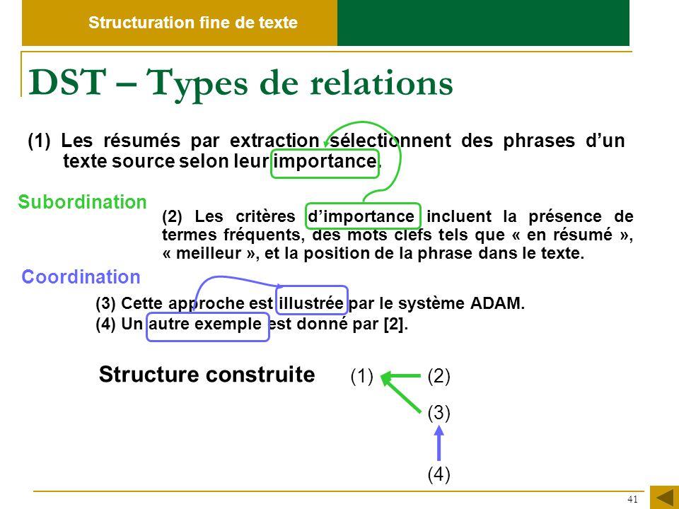 DST – Types de relations