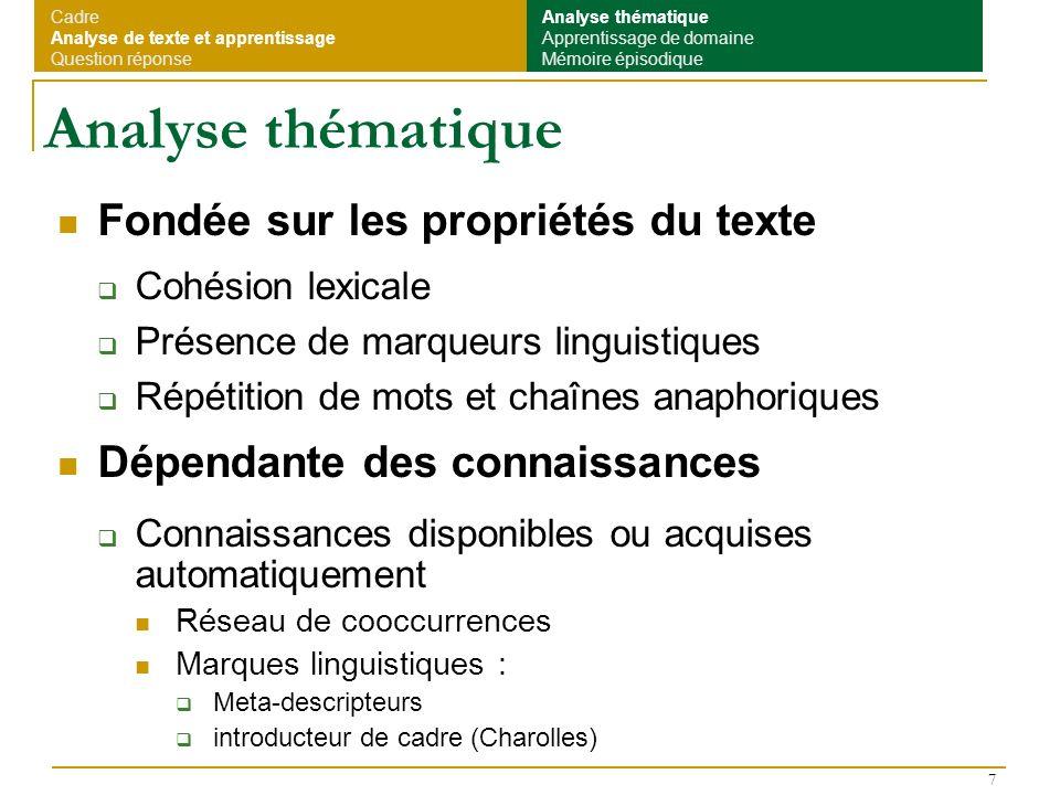 Analyse thématique Fondée sur les propriétés du texte