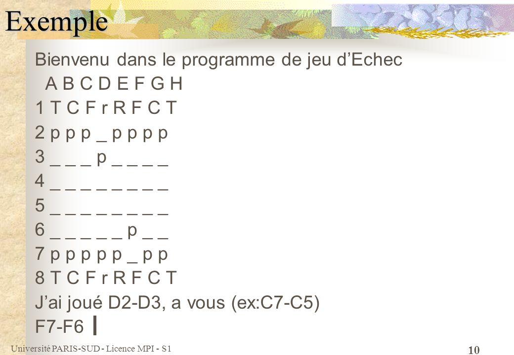 Exemple Bienvenu dans le programme de jeu d'Echec A B C D E F G H