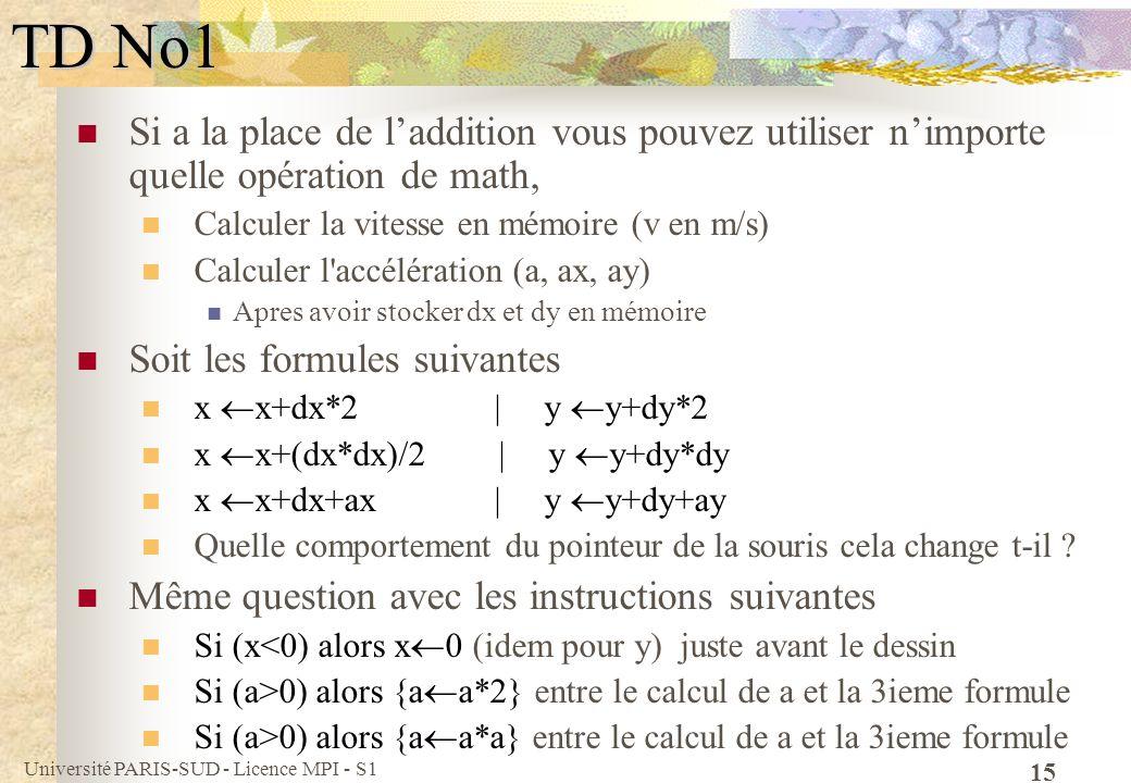 TD No1 Si a la place de l'addition vous pouvez utiliser n'importe quelle opération de math, Calculer la vitesse en mémoire (v en m/s)