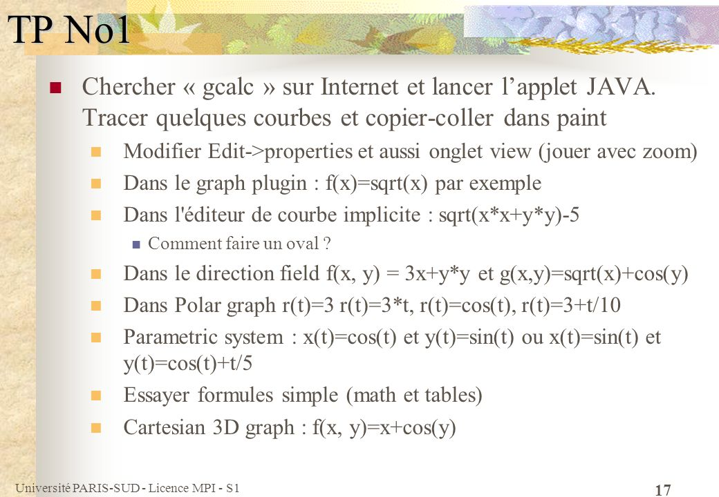 TP No1 Chercher « gcalc » sur Internet et lancer l'applet JAVA. Tracer quelques courbes et copier-coller dans paint.