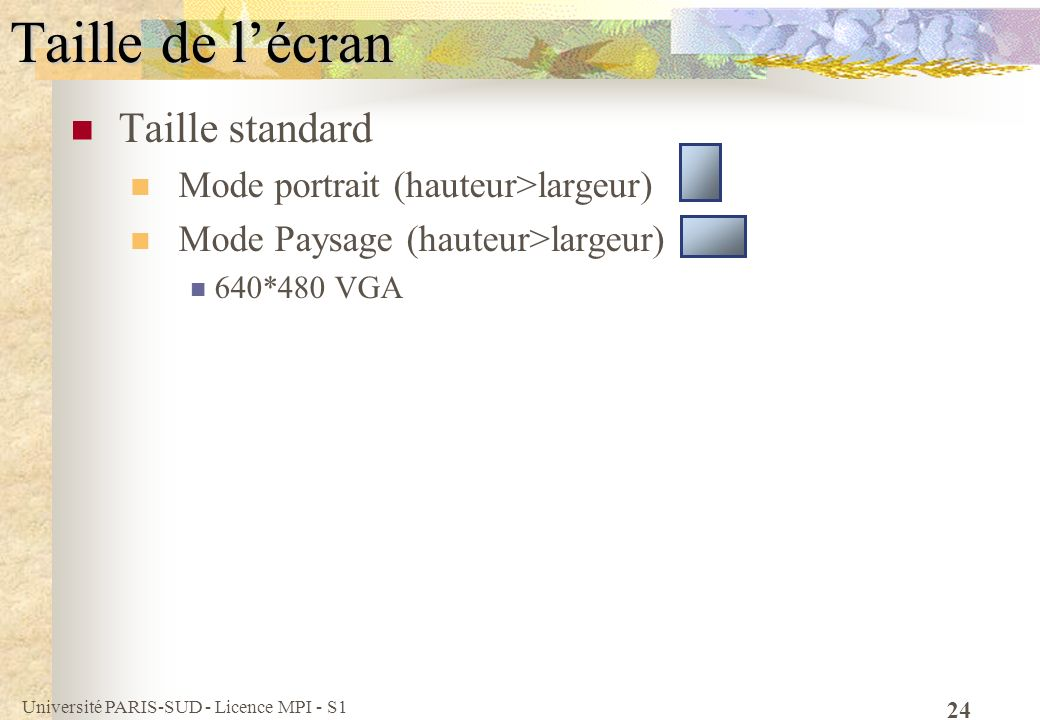 Taille de l'écran Taille standard Mode portrait (hauteur>largeur)