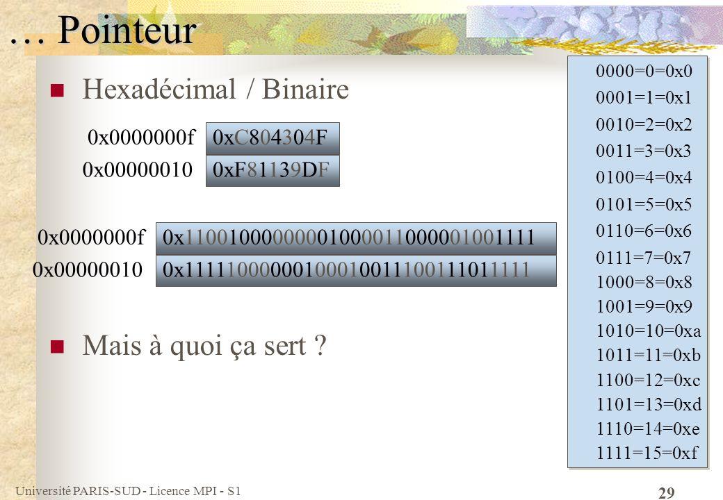 … Pointeur Hexadécimal / Binaire Mais à quoi ça sert 0x0000000f