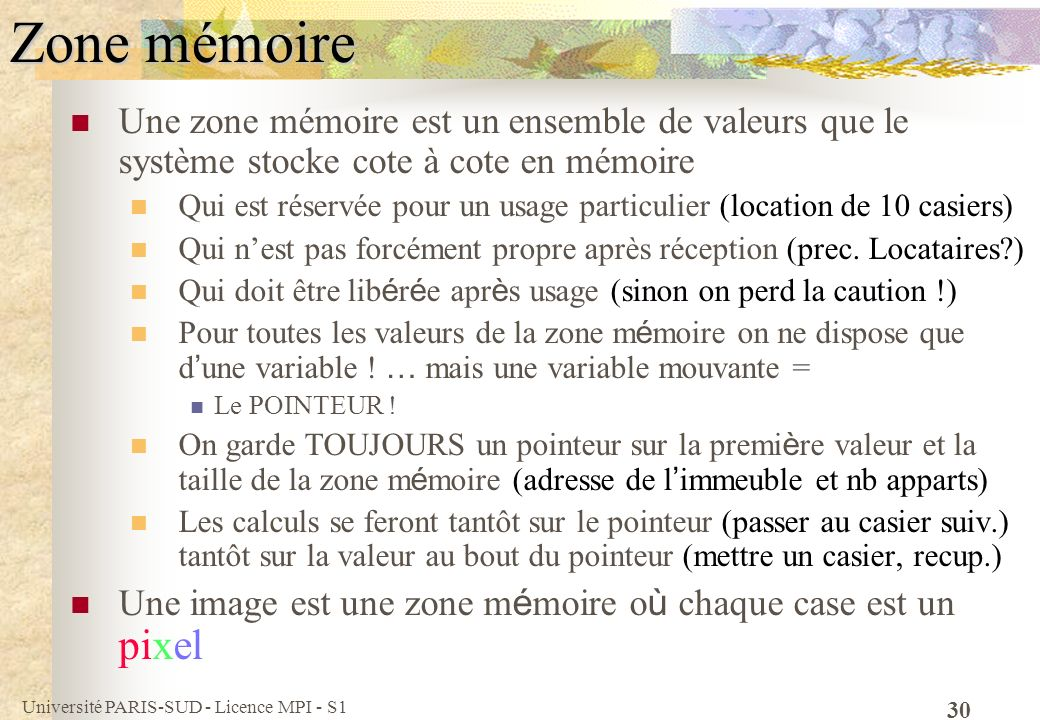 Zone mémoire Une zone mémoire est un ensemble de valeurs que le système stocke cote à cote en mémoire.