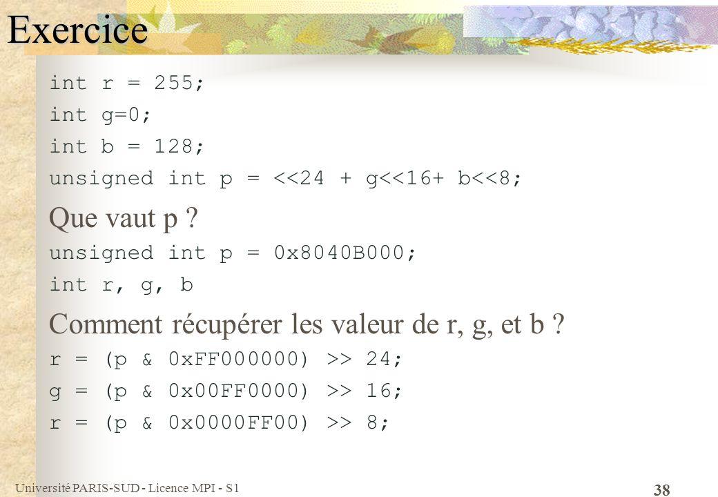 Exercice Que vaut p Comment récupérer les valeur de r, g, et b