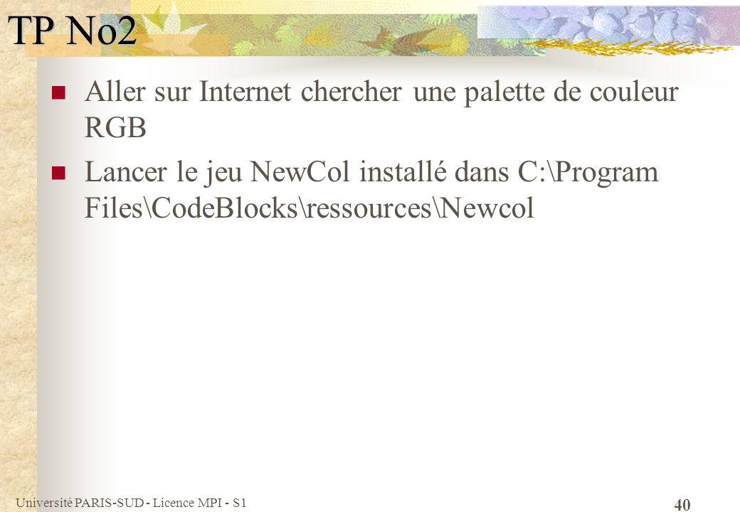TP No2 Aller sur Internet chercher une palette de couleur RGB