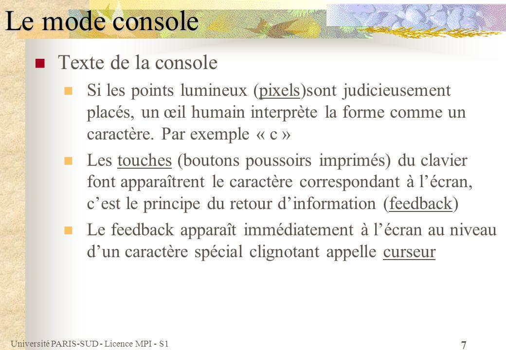 Le mode console Texte de la console