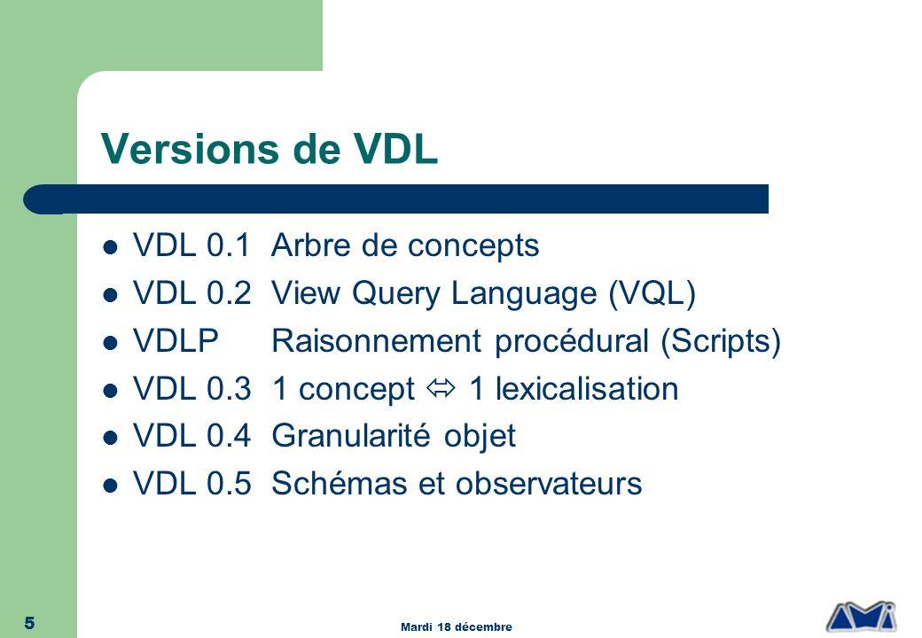 Versions de VDL VDL 0.1 Arbre de concepts