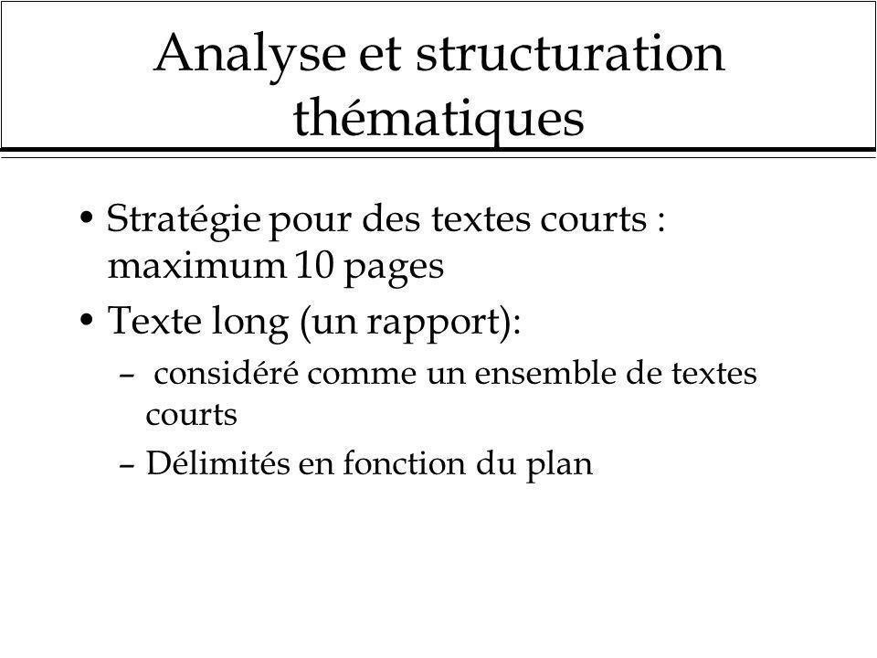 Analyse et structuration thématiques