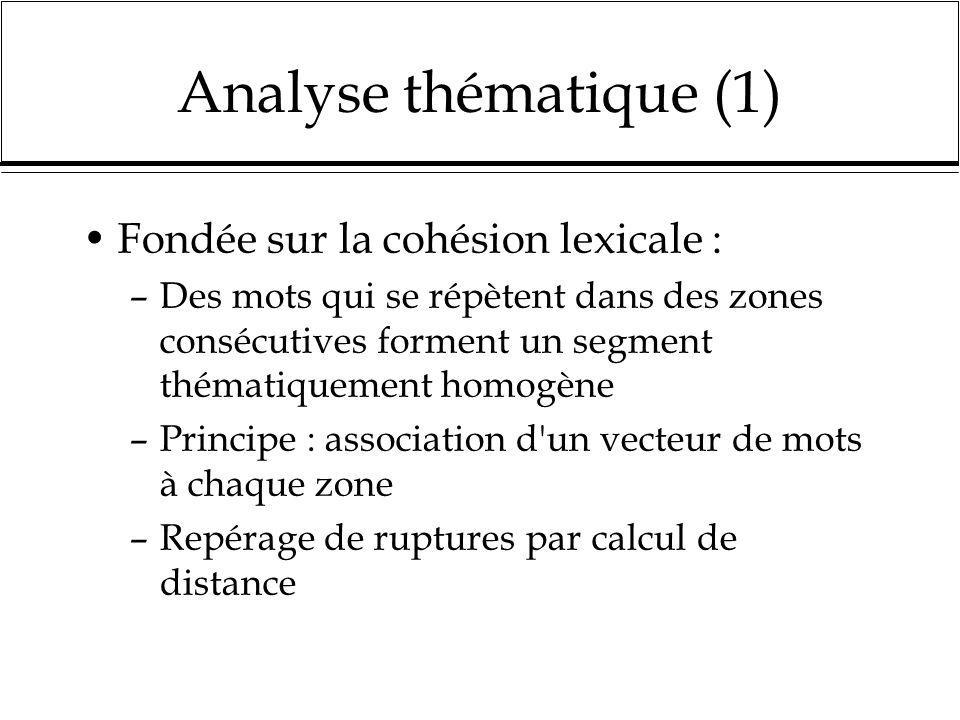 Analyse thématique (1) Fondée sur la cohésion lexicale :