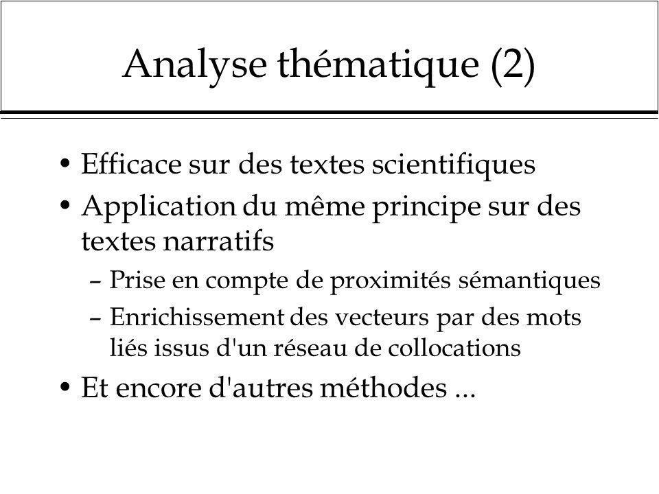 Analyse thématique (2) Efficace sur des textes scientifiques