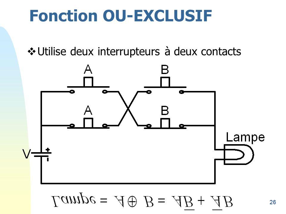 Fonction OU-EXCLUSIF Utilise deux interrupteurs à deux contacts