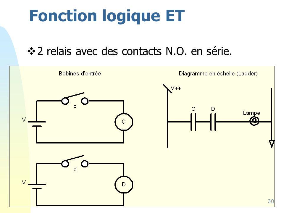 Fonction logique ET 2 relais avec des contacts N.O. en série.