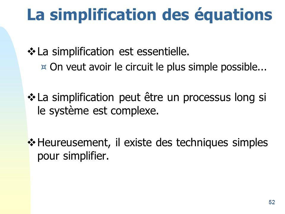 La simplification des équations