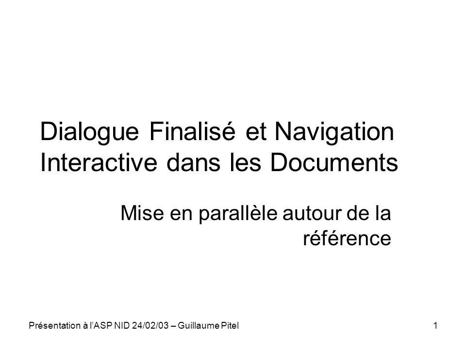 Dialogue Finalisé et Navigation Interactive dans les Documents