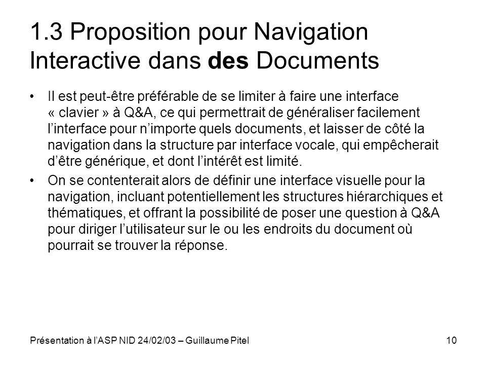 1.3 Proposition pour Navigation Interactive dans des Documents