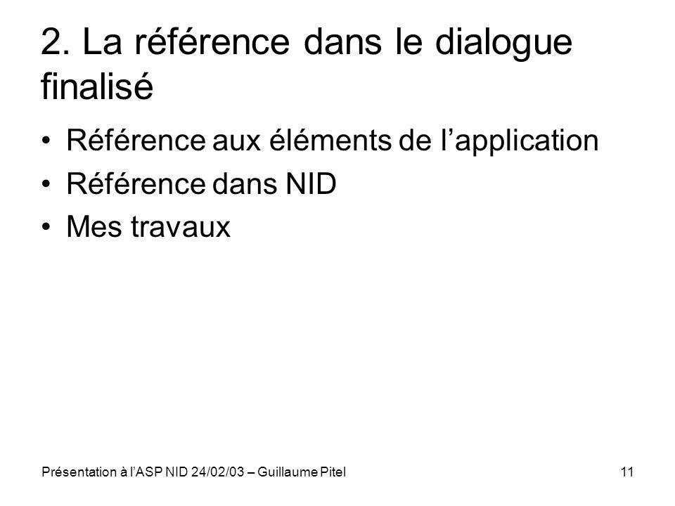 2. La référence dans le dialogue finalisé