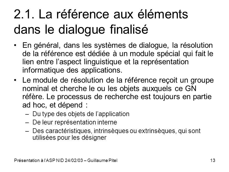 2.1. La référence aux éléments dans le dialogue finalisé