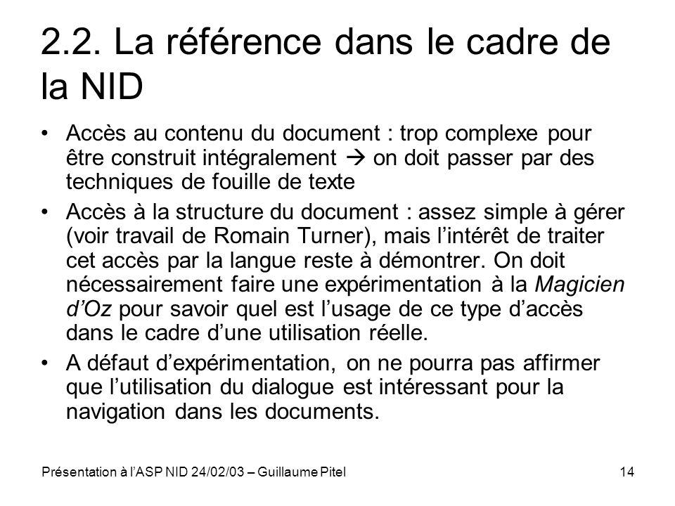 2.2. La référence dans le cadre de la NID