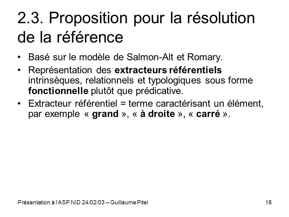 2.3. Proposition pour la résolution de la référence