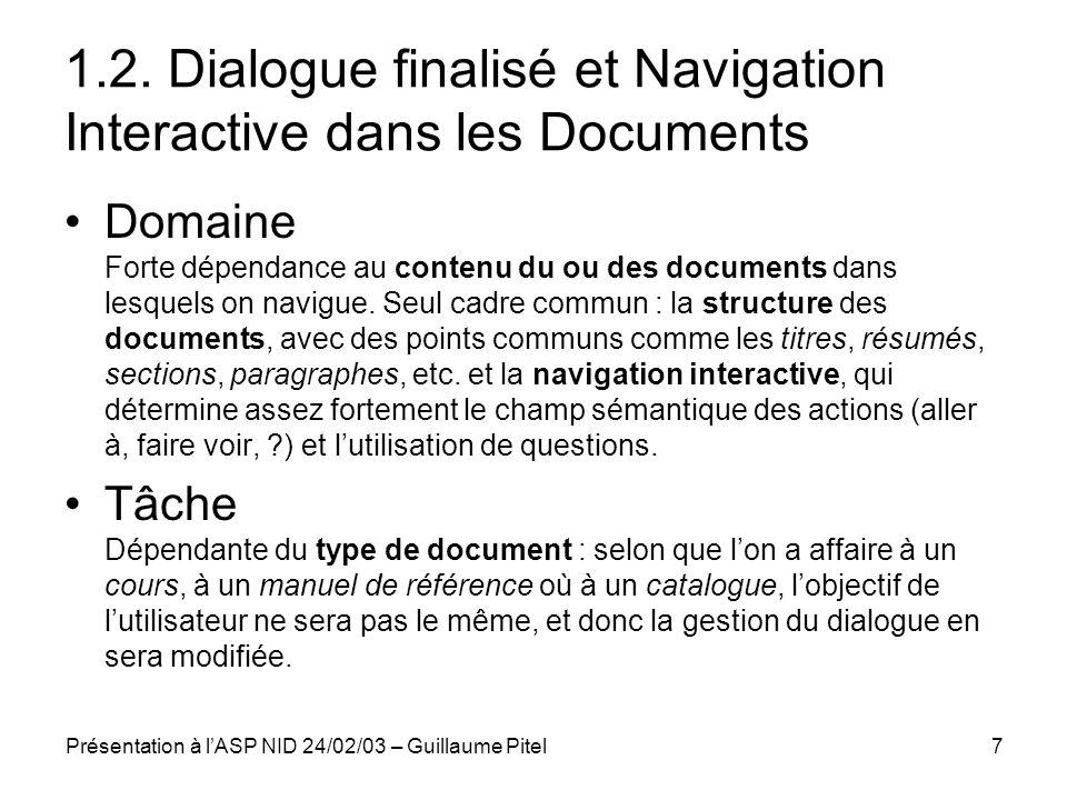 1.2. Dialogue finalisé et Navigation Interactive dans les Documents
