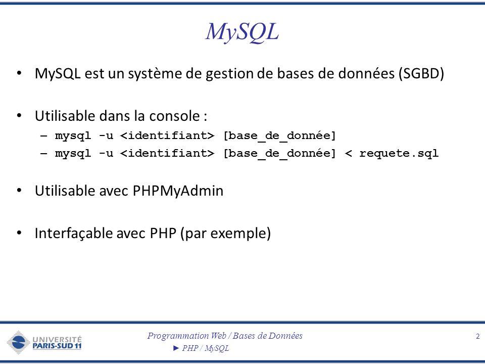 MySQL MySQL est un système de gestion de bases de données (SGBD)