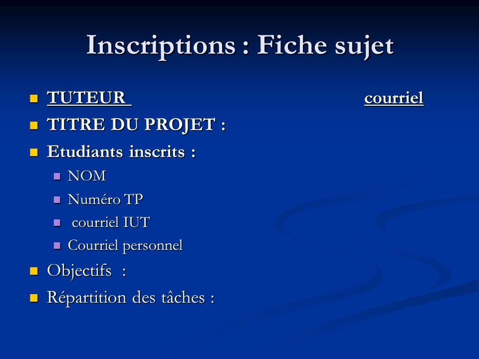Inscriptions : Fiche sujet