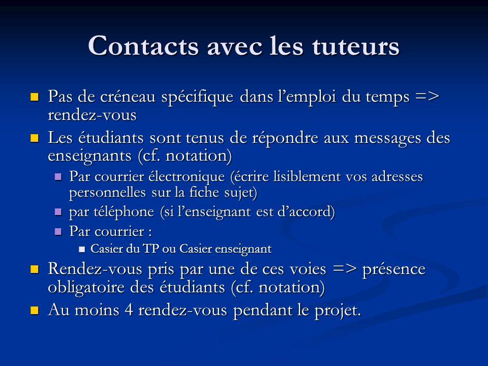 Contacts avec les tuteurs