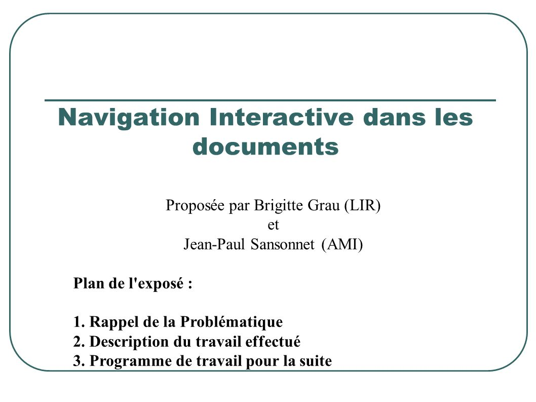 Navigation Interactive dans les documents