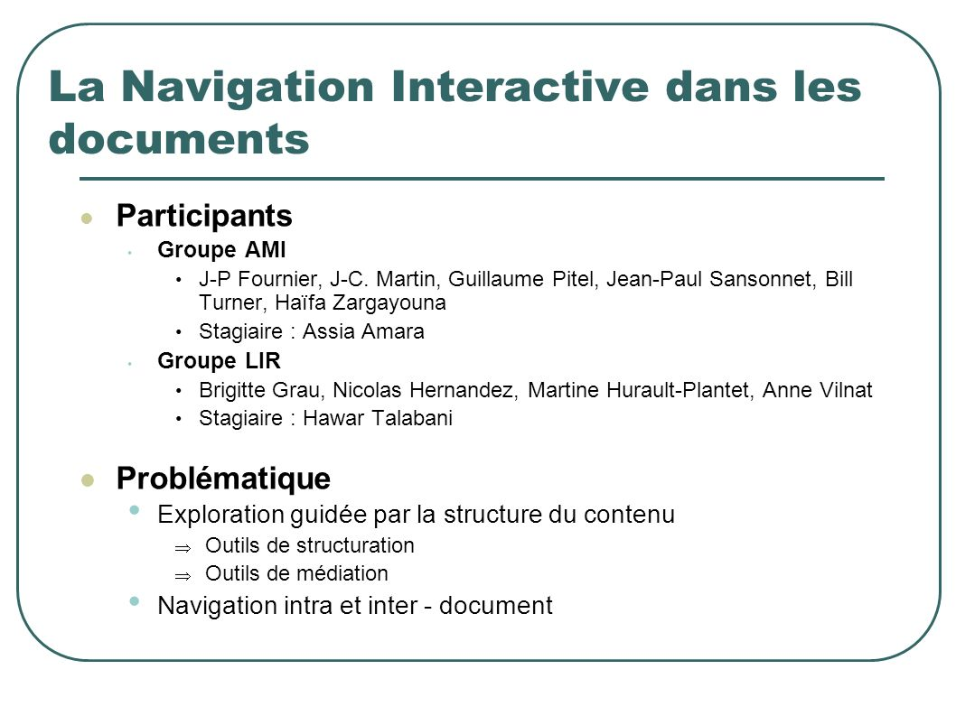 La Navigation Interactive dans les documents