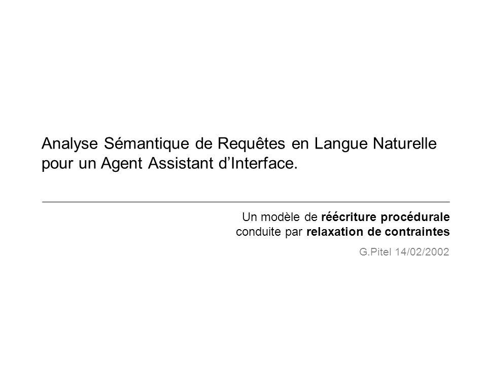 Analyse Sémantique de Requêtes en Langue Naturelle pour un Agent Assistant d'Interface.
