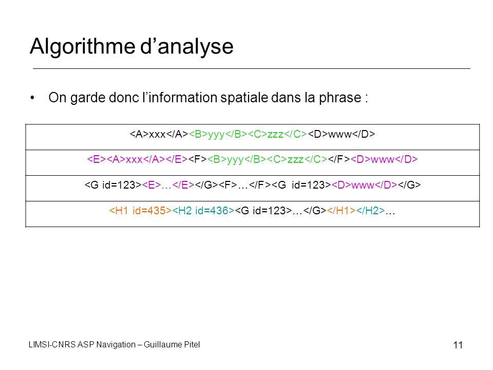 Algorithme d'analyse On garde donc l'information spatiale dans la phrase : <A>xxx</A><B>yyy</B><C>zzz</C><D>www</D>