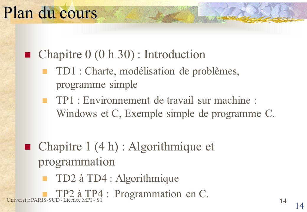 Plan du cours Chapitre 0 (0 h 30) : Introduction