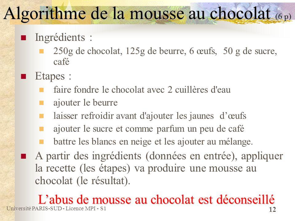 Algorithme de la mousse au chocolat (6 p)