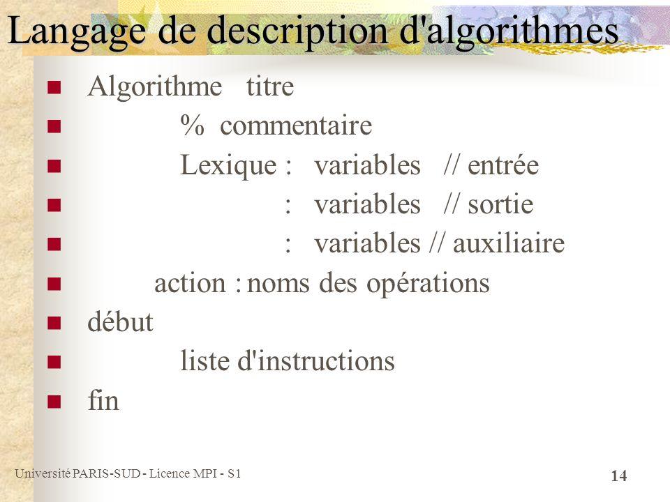 Langage de description d algorithmes