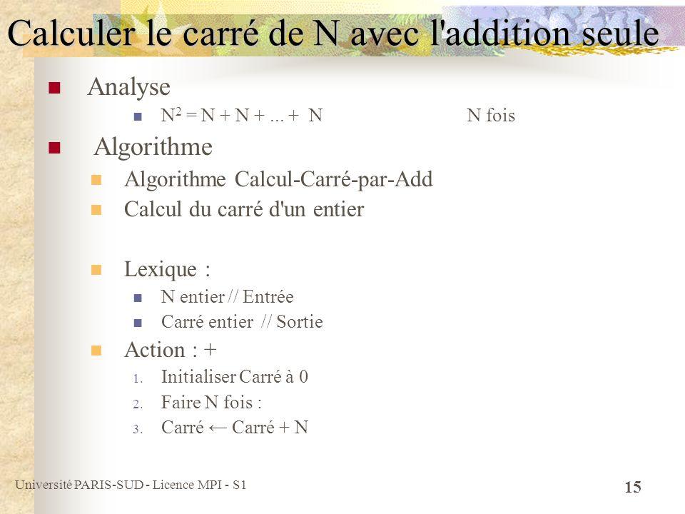 Calculer le carré de N avec l addition seule