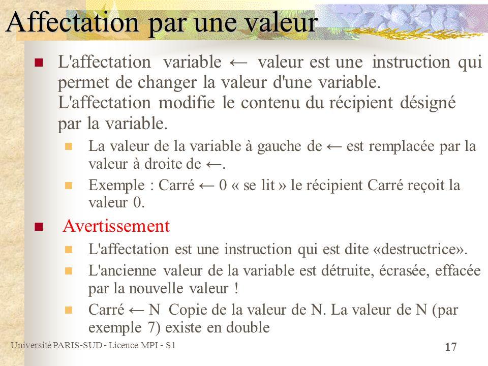Affectation par une valeur