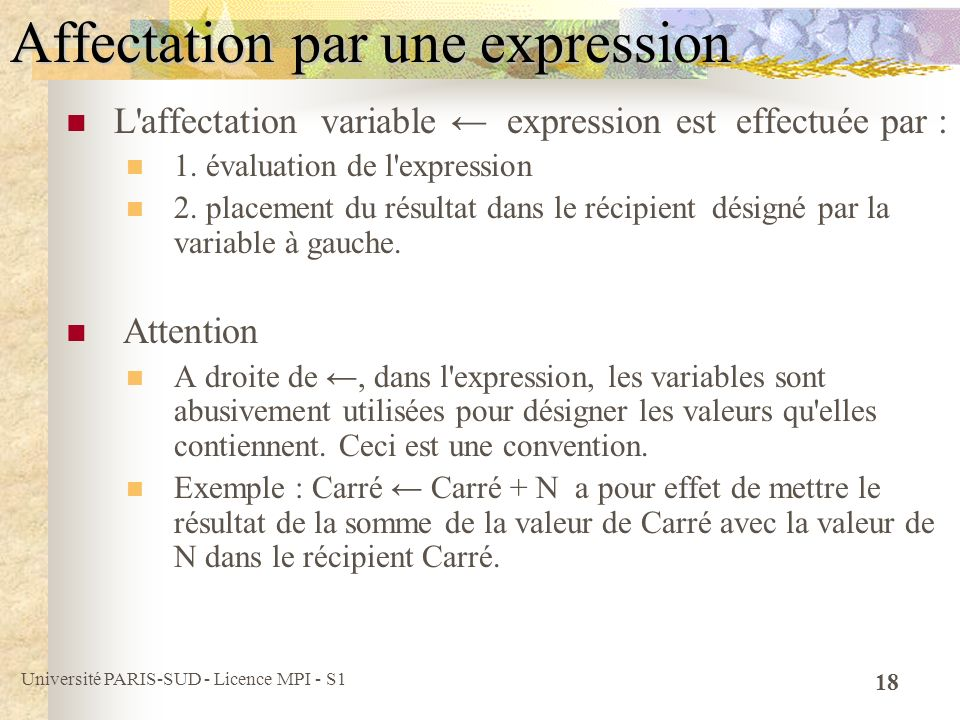 Affectation par une expression