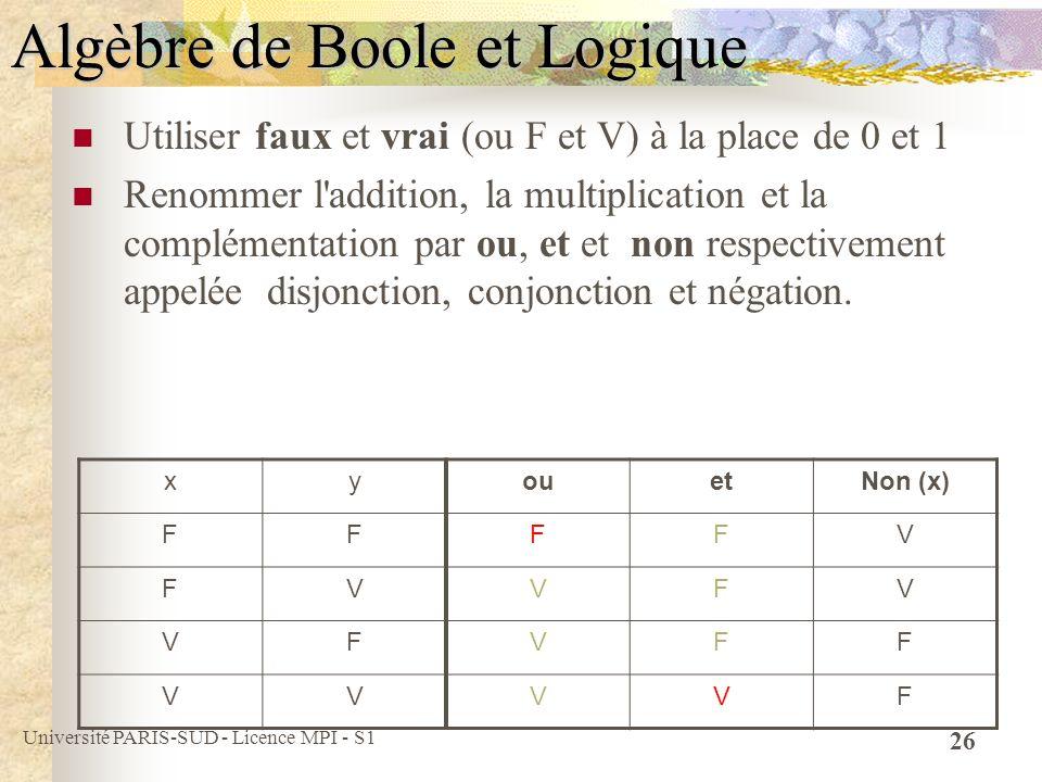 Algèbre de Boole et Logique